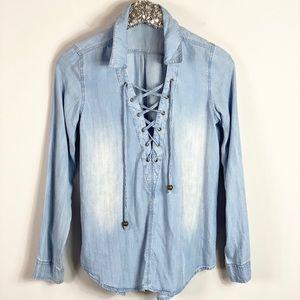 Hint of Mint Denim Chambray Lace Up Shirt Small